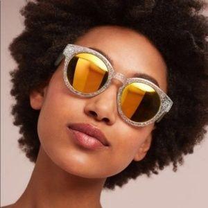 Anthro Mirrored Round Goldie Sunglasses Silver Gli